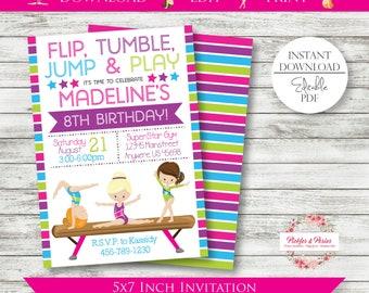 Editable Gymnastics Invitation - Gymnastics Birthday Invitation - Tumbling Party - Cupcakes and Carwheels - Edit w/ Adobe Reader - PRINTABLE