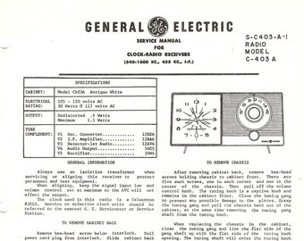 General Electric Vintage Radio Service Manual Clock Radio Receiver 1960 Mid Century Modern Download PDF Model C403 A Excellent Condition