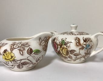 Vintage Nasco Rose Arbor Cream and Sugar Bowl