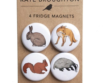 woodland animal fridge magnets (set of four) rabbit , fox , badger , squirrel - wildlife nature - home kitchen gift