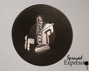 Portland Oregon Theater Sign Vinyl Record Painting