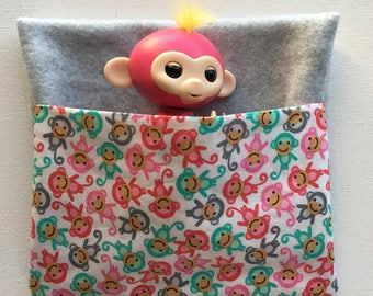 Fingerlings Toy Monkey Sleeping Bag - Travel Pouch - Cozy gray fleece and white cotton.  Little monkeys- Christmas Gift - Bed - Nap Blanket