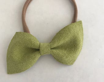 Angled Suede Bow