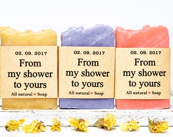 120 mini wedding favor soaps, From my shower to yours, soap favors. Wedding shower favors. Bridal shower gifts for guests. Baby shower favo