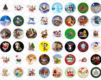 48 1 Inch Round Christmas Images - Great For Bottle Caps, Jewelry, Scrapbooking.