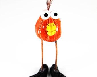 happy bird, ceramic bird, bird figurine, handmade bird, bird art, orange bird, bird