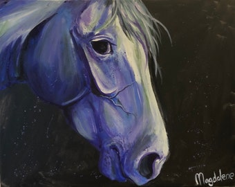 """Original Fine Art Impressionistic White Horse Head Painting On Canvas """"Orion"""" 16' by 20'"""