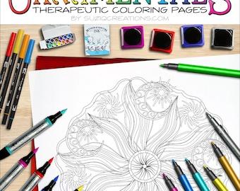 "Sun Moon Stars Mandala Coloring Page - ""Celestial Peace"" OrnaMENTALs #0038 PDF"