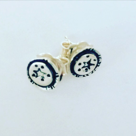 Small Star Sterling Silver Studs - Gift - Tins - Present - Cute