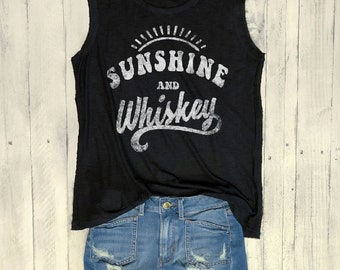 Sunshine & Whiskey, Slouchy Fit,  Raw Reverse Hem and Arms, Graphic Muscle Tee, Funny Shirt, County Music, Concert Tee, Retro, Vintage
