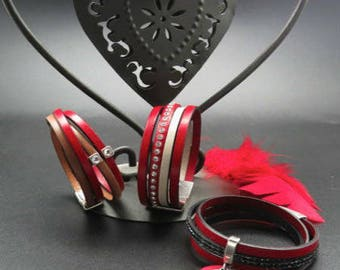 Valentine Red cuff leather bracelet