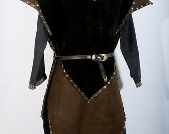 Mossy Green black leather tabard knight leather armour male female game of thrones costume armor larp sca ren faire fantasy viking medieval