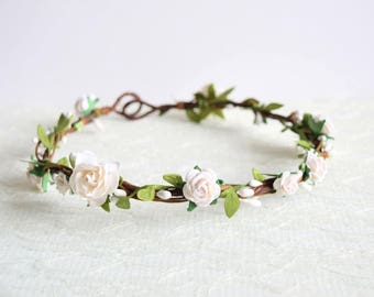 White Rose Flower Crown, floral crown, woodland wedding, flowergirl garland, floral crown, bridesmaid, white leafy flower crown- FLORA