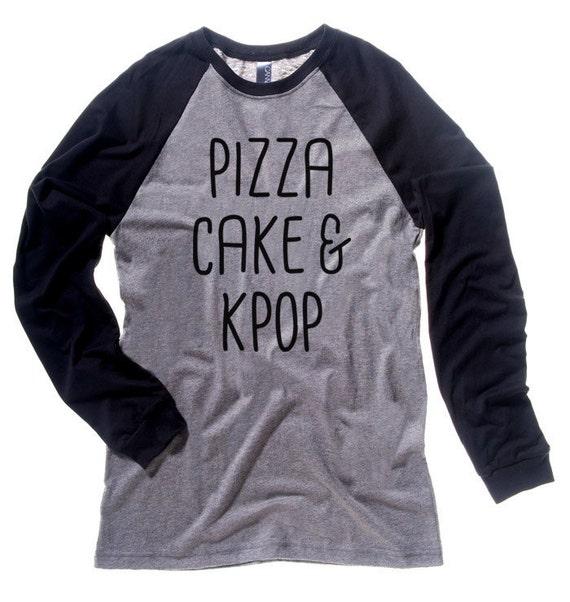 KPOP Tee Pizza Cake & KPOP t-shirt cute top korean shirt kawaii clothing cute raglan tee unisex k-pop clothes kawaii long sleeve shirt DHonz0m