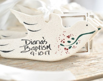 Bridal Shower or Baptism Gift Dove Salt Dough Ornaments Set of 6