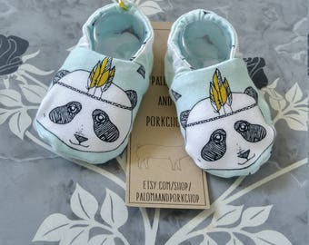 Baby Shoes - Minty Fresh Panda (baby shoes, baby mocs, baby booties, baby shower gift, urban baby, mothers day)