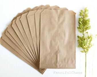 50 Brown Flat Kraft Paper Bags 5X7.5 inch