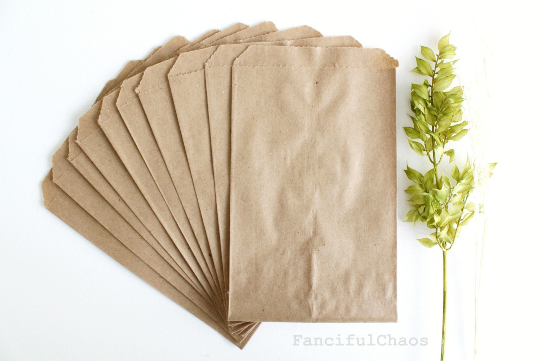 50 Brown Flat Kraft Paper Bags 5X75 Inch