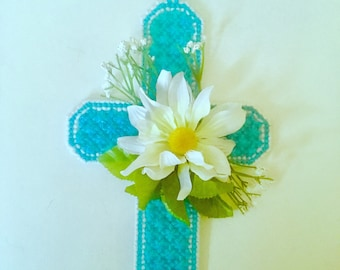 Blue Floral Cross Wall Hanging, Church Decor Cross, Christian gift, sympathy gift