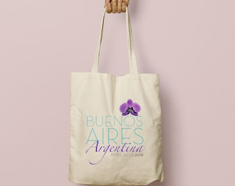 ADRIANA Custom Canvas Tote Bag and Destination Welcome Gift, Buenos Aires Argentina, Wedding Favor Bags, Swag Bag, Purple Orchid, Turquoise