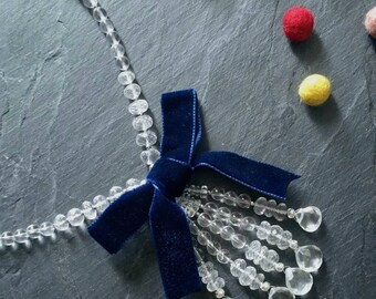 Stunning one of a kind Quartz Crystal drop necklace with Blue Velvet ribbon