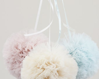 tulle pom poms. pom poms for nursery decor. wedding decor. baby shower pom poms.