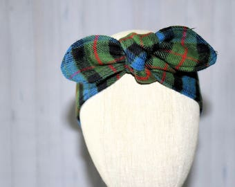 Rockabilly  Flannel Green and Red Head Scarf