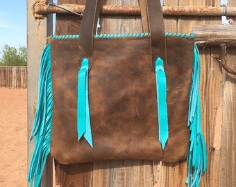 Distressed Leather Purse with Turquoise Fringe Handmade