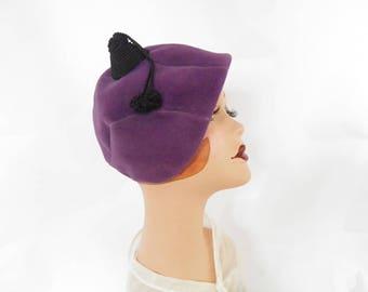 1940s lavender hat, vintage purple tilt, black topknot