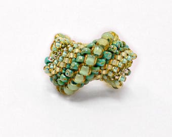 "Beaded Ring ""Seafoam"" Spiral Statement Ring Turquoise Blue Moss Colored Glass Beads"