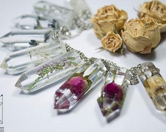 Crystal necklace /crystal pendant /clear crystal/real flower inside crystal/handmade crystal/rose crystal/pink crystal/sweet cute crystal