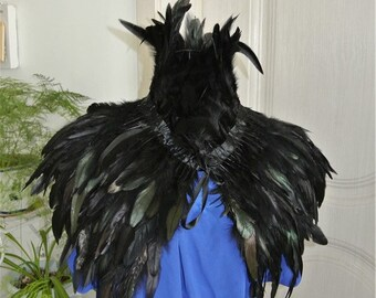 Black feather cape feather jacket feather shawl rooster feather cape Carnival feather shoulder shrug burning man festival