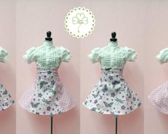 BJD Minifeé MSD high waist printed pink skirt printed