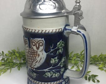 Mint In Box Goebel Bavarian Forest Owl Annual Stoneware Stein First Edition 1980