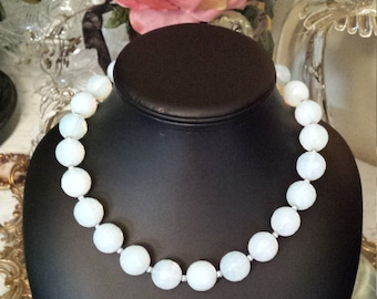 One strand necklace made with faceted opalite