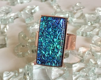 fused glass adjustable copper ring with a 2 tone blue dichroic sparkle