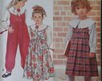 FF 90s Simplicity 8025 Girls Blouse, Jumper Dress, and Jumpsuit Pattern, size 5 - 6X
