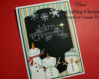 Chalkboard 3 Snowmen Merry Christmas Gold Star Layered Card-Snowman Card-Christmas  Card-Christmas-Greeting Card-Handmade Card