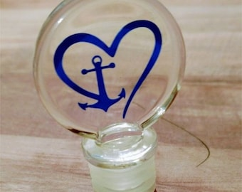 Acrylic Wine Stopper with Heart and Anchor