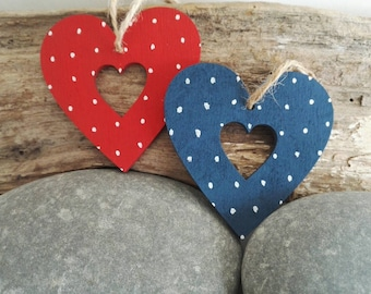 Polka Dot Hearts. Two hand painted spotty hanging heart decorations. Wedding favours. Gift tags. Best friend.