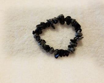 Snowflake Obsidian Elastic Bracelet
