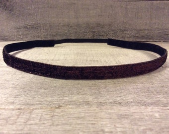 Chocolate Copper Sparkle Nonslip Headband,  Noslip Headband, Workout Headband, Sports Headband, Running Headband, Athletic Headband