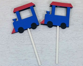 Train Cupcake Topper, Train Party, Train Birthday Party, Set of 12