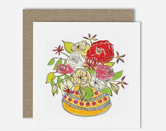 Rustic Bunch / Floral Illustration Greeting Card