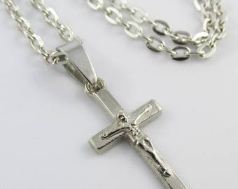 Religious Cross Crucifix Charm Necklace Silver Tone 45cm