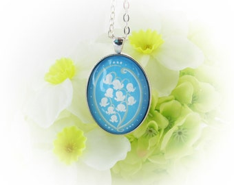 20% OFF Lily of the Valley Pendant, Hand Painted Necklace, Flower Pendant, Unique, Large Oval, Wearable Art,  UK Seller, Turquoise Eye