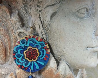 Artistically Painted Floral Earrings