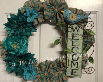 Bird grapevine welcome wreath