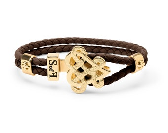 Eternity Love Bracelet Gold with Brown Leather  (free shipping)