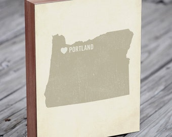Portland Oregon Art - Portland Map - Portland Oregon - Portland Art - Wood Block Art Print